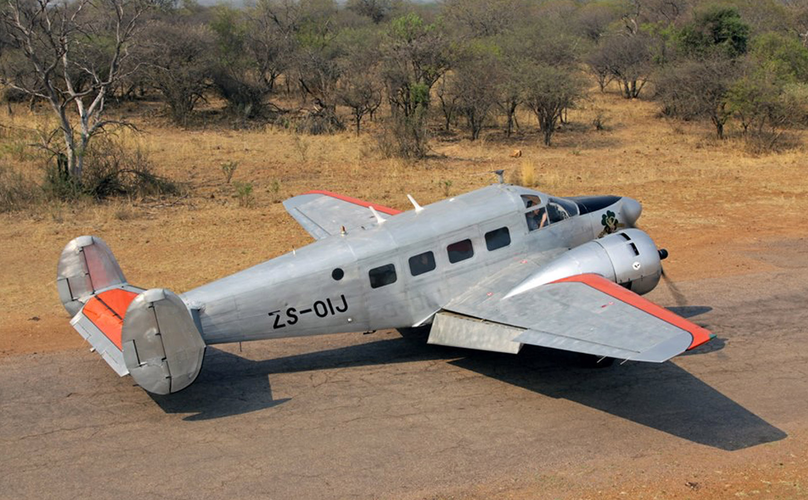 ZS-OIJ Beech E18S Springbok Classic Air at Mongena Game Lodge back in October 2015